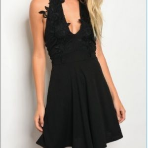 Black Halter Dress with Lace Applique